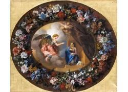 天使和女人说话油画