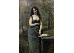 翻书的女人油画