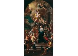 宫廷人物和天神油画