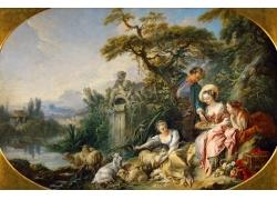 水边的女人和动物油画图片