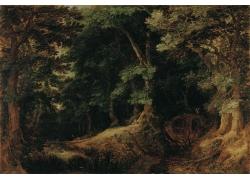 山中树林油画