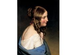 绯红的女人侧脸油画