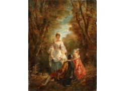 树林里采花的女孩油画图片