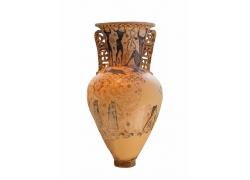 人物图案古董双耳瓶