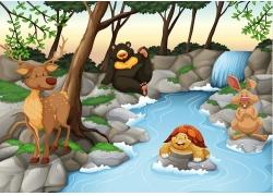 小溪旁的卡通动物漫画图片