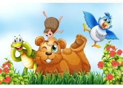 草地上的卡通动物漫画图片