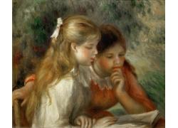 看书的女孩油画图片