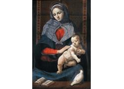 看书的女人和孩子油画图片