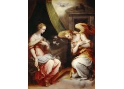 天使给女人献花油画