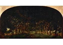欧洲树林油画