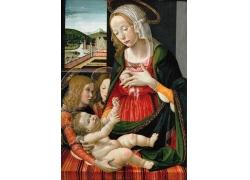 哺乳的女人和婴儿