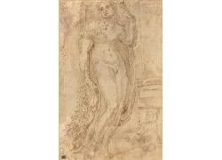站立的裸身人物素描
