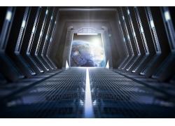 飞船走廊外的地球