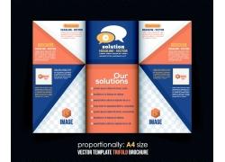 彩色三角形商务三折页图片