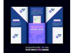 蓝色商务几何图形三折页图片