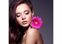 花朵与美女