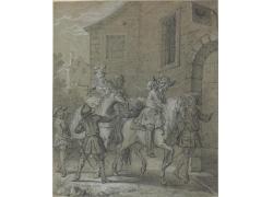 骑马进城的人物素描
