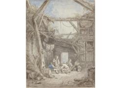 破旧的房屋和男女绘画