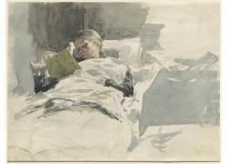 床上看书的女人图片