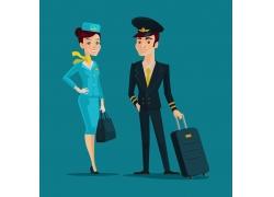 卡通的空乘人物图片