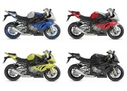 各种颜色的摩托车