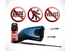 禁止图标和喷雾电击枪