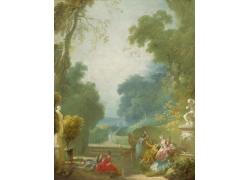 树下的女人与花朵油画