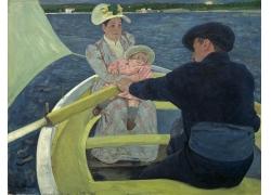 船上的男女和婴儿油画