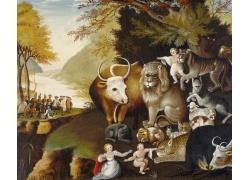 女人和动物人群油画图片
