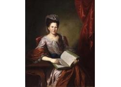 椅子上看书的女人油画图片