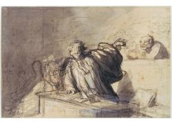 房屋里的桌子与人物绘画