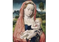 哺乳的女人油画