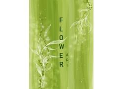 绿色背景下的手绘植物图片