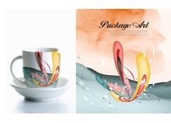 水杯上的抽象印花图案