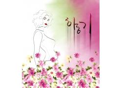 花朵与女人图片