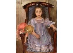 椅子上的女孩油画图片