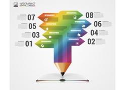彩色立体铅笔信息图表