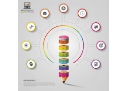 彩色立体圆环铅笔信息图表