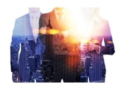 创意城市建筑商务男女