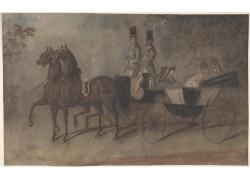 马车上的男女绘画