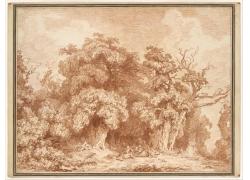 树林和男女绘画