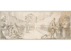 道路上的男女绘画