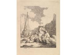帆船和男女绘画