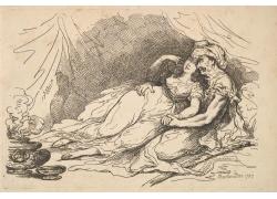 床上亲密的男女绘画