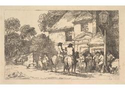 楼房前骑马的男人和男女绘画