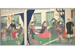 房间里的餐桌和男女绘画