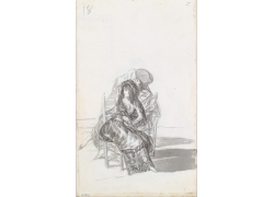 椅子上的男女绘画
