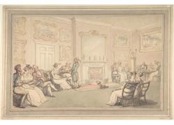 房间里的壁炉和男女绘画