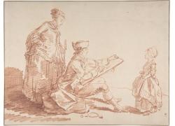 绘画的男人和女孩女人绘画图片