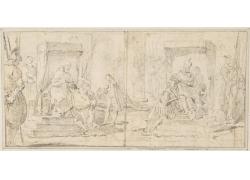 戴皇冠的男女绘画